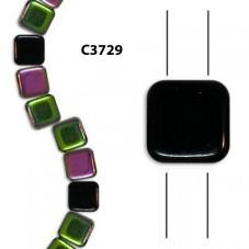C3729 Czech Glass 2-hole Tile Beads JET VITRAIL  6mm