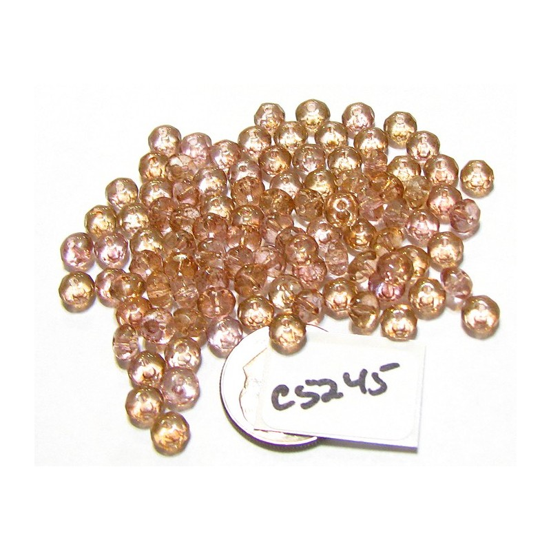 C5245 Czech Glass Faceted Rondelle Beads LUMI PINK  3x5mm
