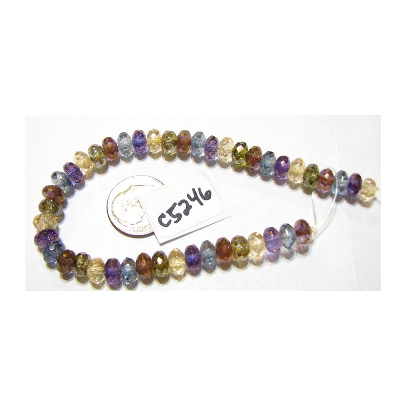 C5246 Czech Glass Faceted Rondelle Beads LUMI MIX  4x7mm