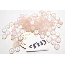 C5233 Czech Glass Rondelle Bead FROSTED PINK AB 5mm