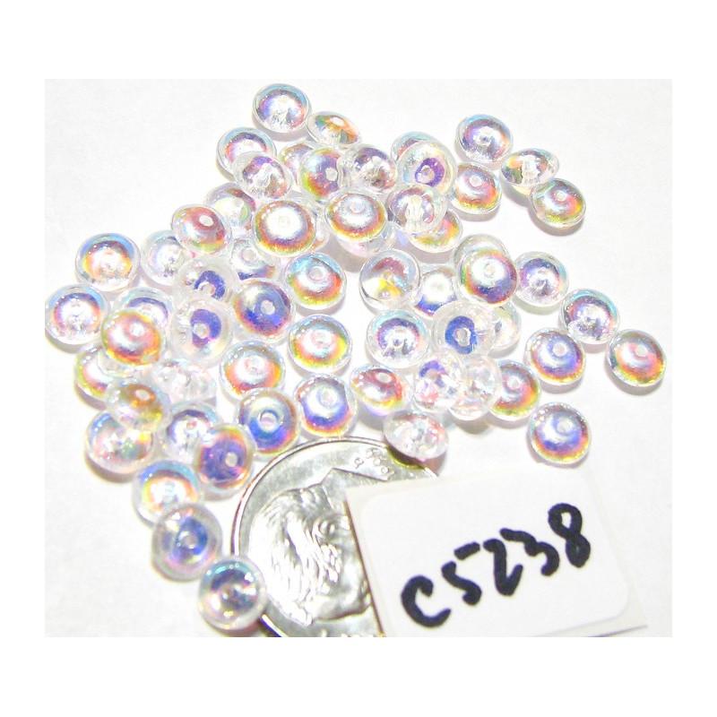 C5238 Czech Glass Rondelle Bead CRYSTAL AB 5mm