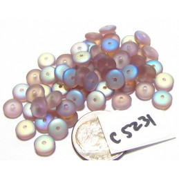 C5231 Czech Glass Rondelle Bead FROSTED AMETHYST AB 6mm