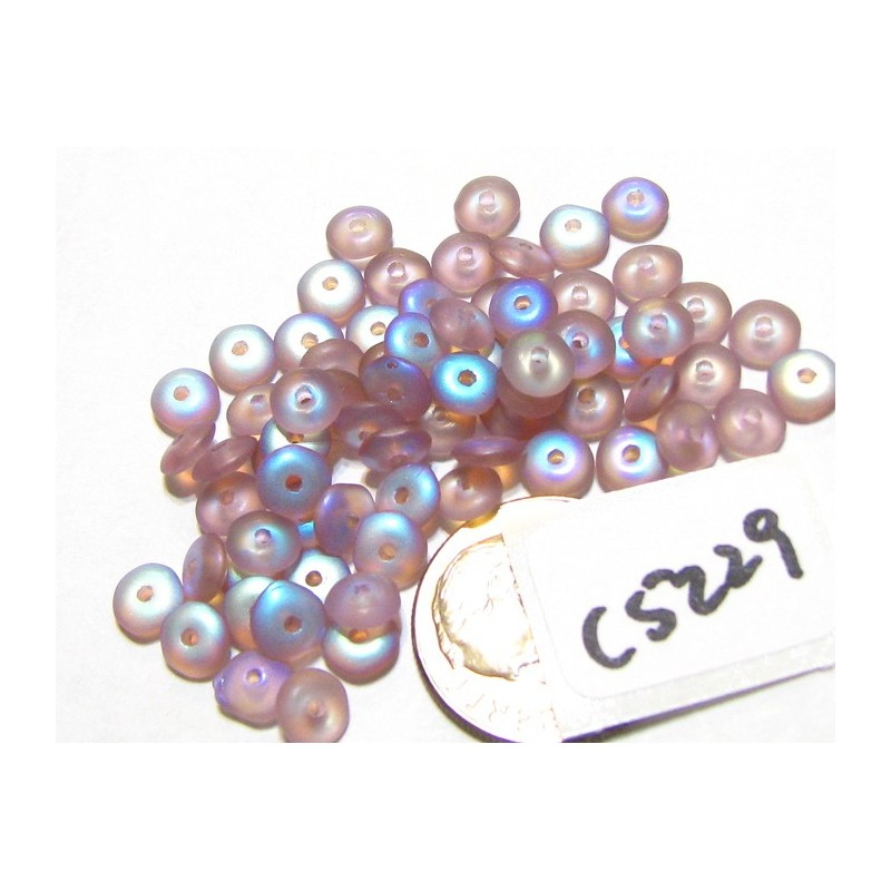 C5229 Czech Glass Rondelle Bead FROSTED AMETHYST AB 5mm