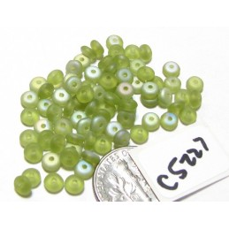 C5227 Czech Rondelle Bead FROSTED OLIVINE AB 4mm