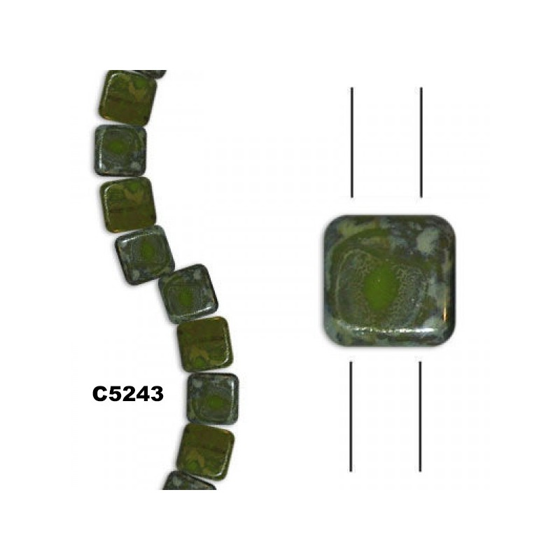 C5243 Czech Glass 2-hole Tile Beads GREEN OPAQUE SILVER PICASSO  6mm