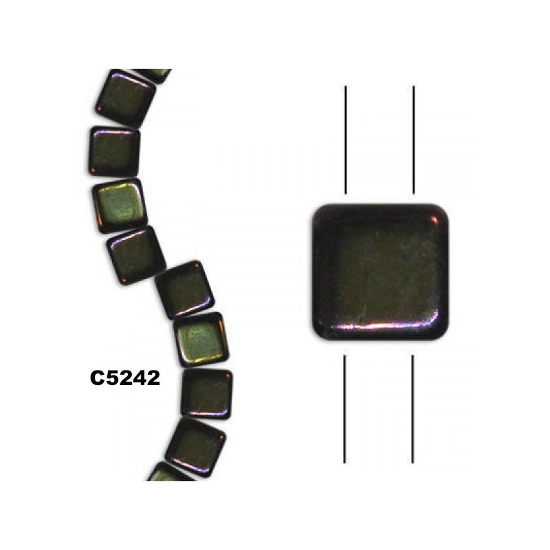 C5242 Czech Glass 2-hole Tile Beads BROWN IRIS  6mm