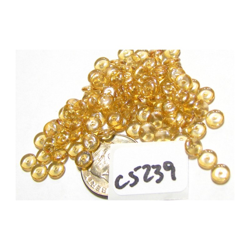 C5239 Czech Glass Rondelle CRYSTAL CHAMPAGNE 5mm