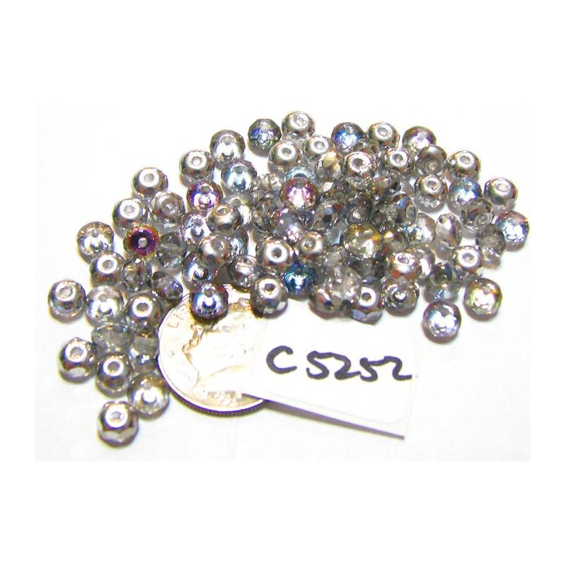 C5252 Czech Glass Faceted Rondelle Beads LIGHT VITRAIL  3x5mm