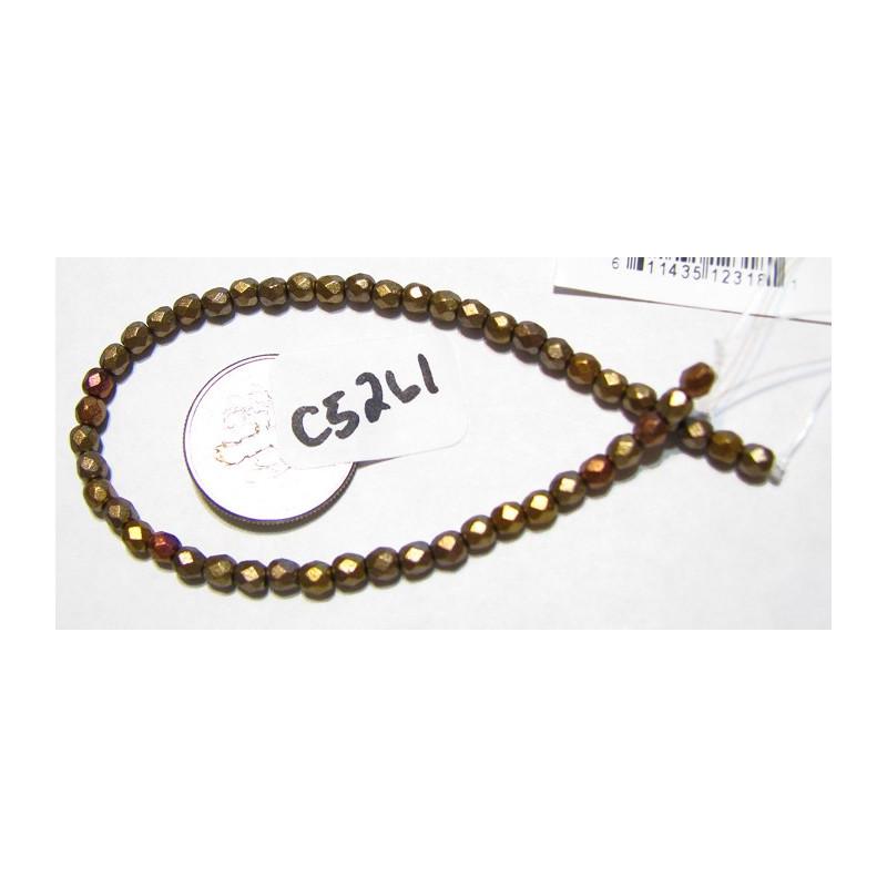 C5261 Czech Glass Faceted Round MATTE METALLIC GOLD IRIS  3mm