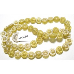M1276 China Glass Flower Engraved Bead JONQUIL MATTE  AB 10mm