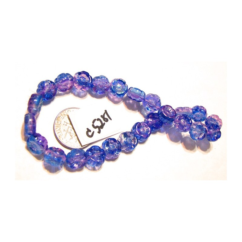 C5281 Czech Glass Hawaiian Flower Bead BLUE / PURPLE AB 8mm