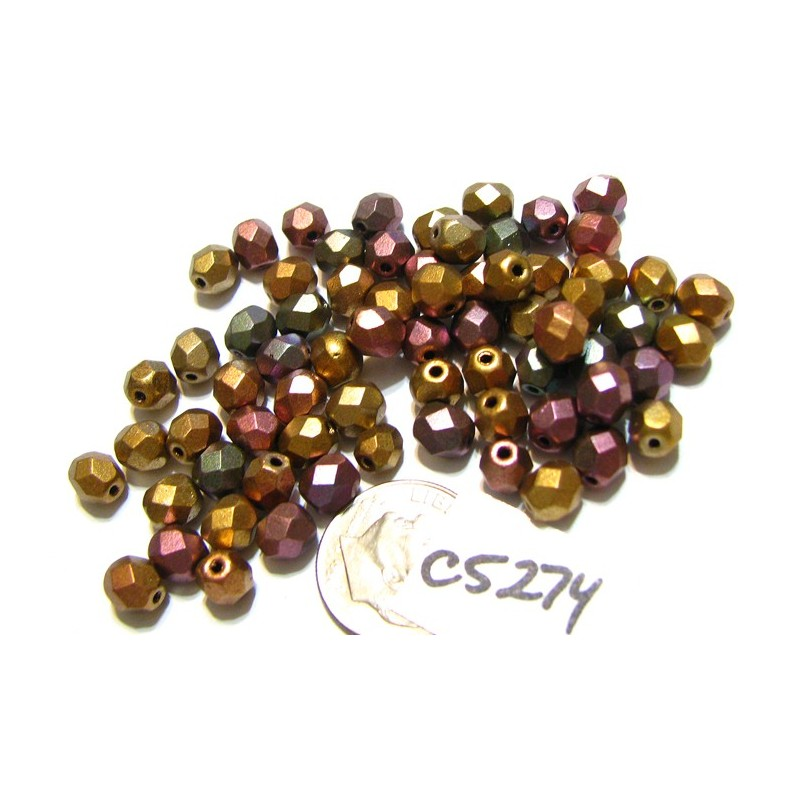 BE19 50pc Strand 4mm Yellow Faceted Round Glass Beads