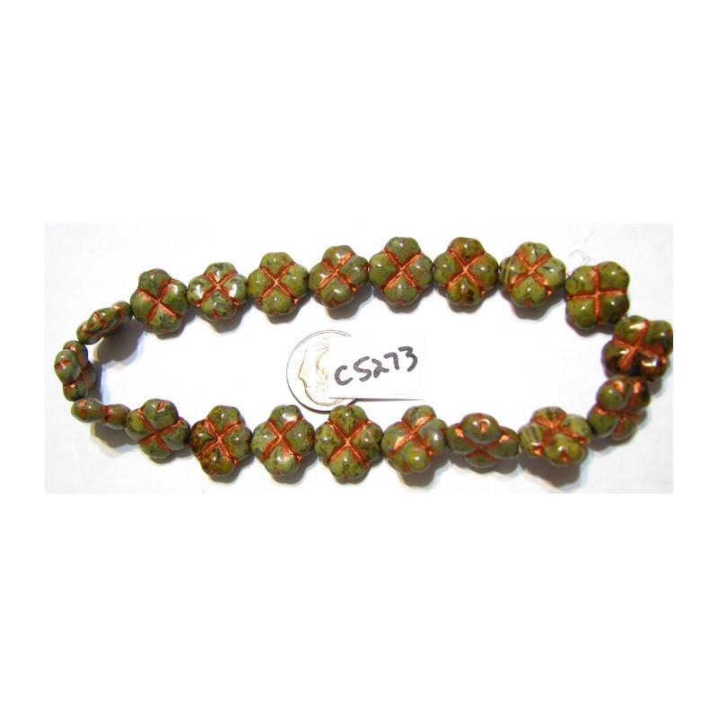 C5273 Czech Glass Clover Bead GREEN & COPPER WASH 15mm