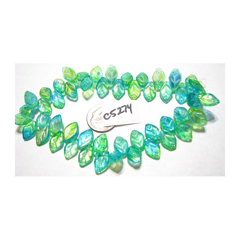 C5272 Czech Glass Leaf Bead GREEN MIX 12x7mm