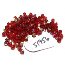 S1956 Swarovski Crystal Bicone Bead 5328 SCARLET AB 4mm