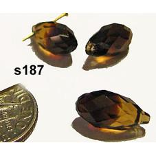 S187 Swarovski Faceted Drop Pendant 6000 TOPAZ BLEND 13mm