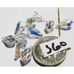 S60 Swarovski Faceted Drop Pendant 6000 CRYSTAL AB 11x5.5mm