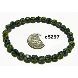 C1269 Czech Faceted Round Bead BLACK  PICASSO 6mm