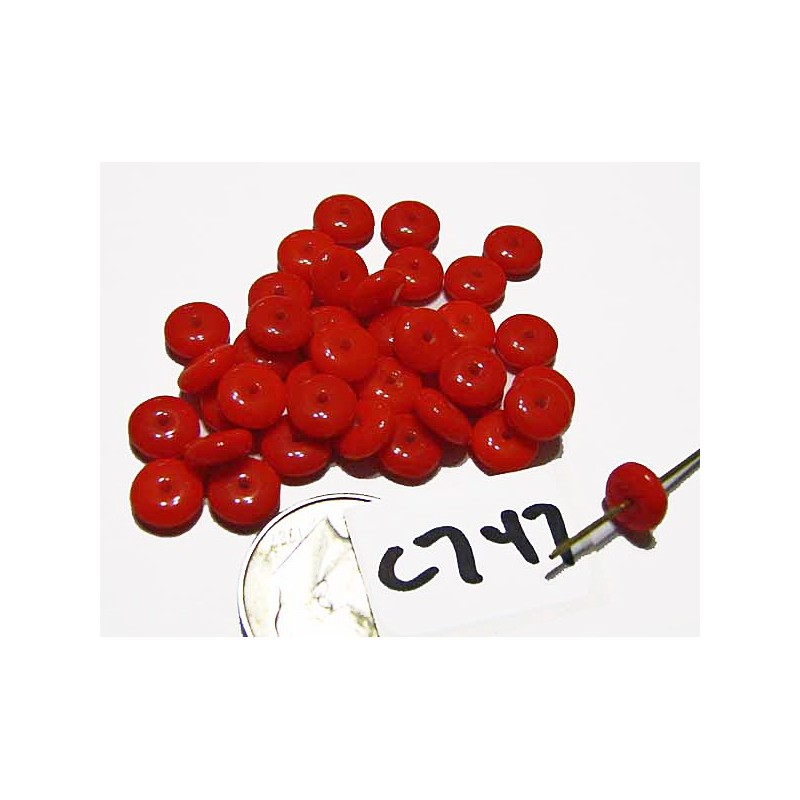 C747 Czech Glass Rondelle RED 6mm