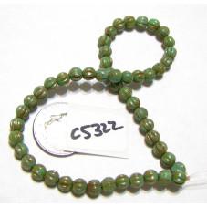 C5322 Czech Glass Melon Bead FERN w/ PICASSO    4mm