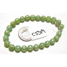 C5319 Czech Glass Melon Bead CELADON w/ MERCURY FINISH   6mm