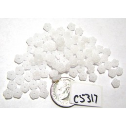 C5317 Czech Glass Forget Me Not Spacer Bead WHITE ALABASTER   5mm