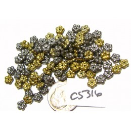 C5316 Czech Glass Forget Me Not Spacer Bead CALIFORNIA GRAPHITE  5mm