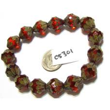 C5301 Czech Glass Baroque  Bicone  SCARLET RED w/ PICASSO  11x13mm