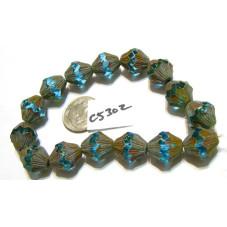 C5302 Czech Glass Baroque  Bicone  SKY BLUE w/ PICASSO  11x13mm