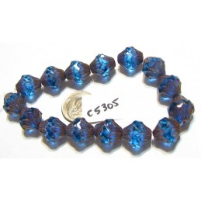 C5305 Czech Glass Baroque  Bicone  PALE BLUE w/ COPPER FINISH  11x13mm