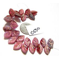 C5310 Czech Glass Leaf Bead PINK/AMETHYST w/ COPPER WASH 12x7mm