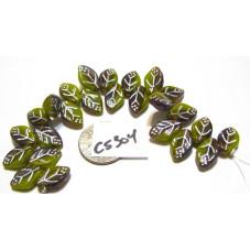 copy of C5310 Czech Glass Leaf Bead BROWN/OCHRE w/ SILVER WASH 12x7mm