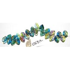 C5312 Czech Glass Leaf Bead OLIVE/AMETHYST/CAPRI w/ COPPER WASH 12x7mm