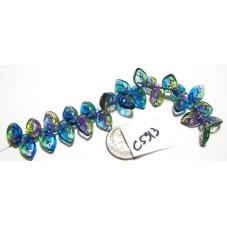 C5313 Czech Glass Leaf Bead OLIVE/AMETHYST/CAPRI w/ PURPLE WASH 12x7mm