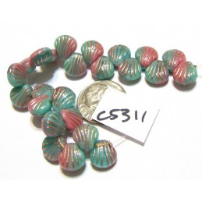 C5311 Czech Glass Shell Bead PINK/GREEN w/ COPPER WASH 9mm