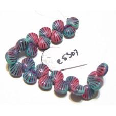 C5307 Czech Glass Shell Bead PINK/GREEN w/ PURPLE WASH 9mm