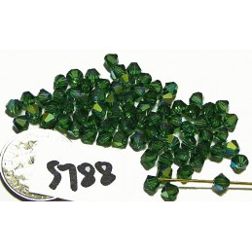 FPS788 Swarovski Bicone Bead Factory Pack GREEN TURMALINE AB 4mm