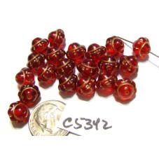 C5342 Czech Glass UFO Bead RED w/ GOLD 8mm