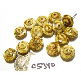 C5340 Czech Glass Rondelle Bead AMBER w/ PICASSO 6x10mm