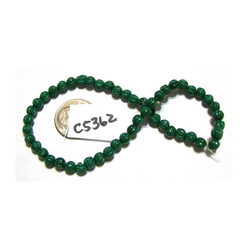 C5362 Czech Glass Melon Bead HUNTER w/ GREEN WASH  4mm