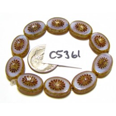 C5361 Czech Glass Bead Carved Oval Kiwi Starburst PERIWINKLE w/ PICASSO 12x14mm
