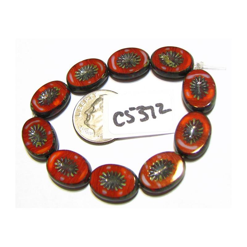 C5372 Czech Glass Bead Carved Oval Kiwi Starburst LADYBUG  w/ PICASSO 12x14mm