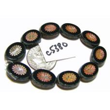 C5380 Czech Glass Bead Carved Oval Kiwi Starburst JET  w/ PICASSO 12x14mm