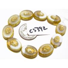 C5392 Czech Glass Bead Carved Oval Kiwi Starburst YELLOW IVORY & WHITE  w/ PICASSO & MERCURY FINISH 12x14mm