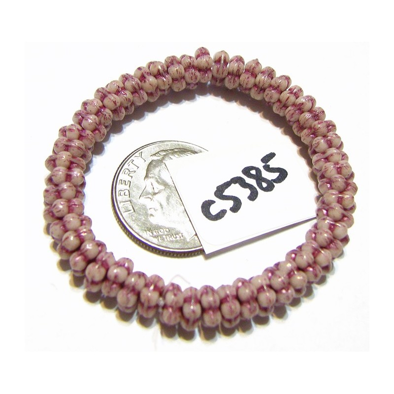 C5385 Czech Glass Forget Me Not Spacer Bead WHITE w/ LUSTER & METALLIC PINK WASH   5mm