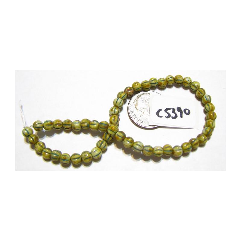C5390 Czech Glass Melon Bead YELLOW w/ TURQUOISE WASH   4mm