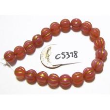 C5378 Czech Glass Melon Bead DUSTY ROSE w/ GOLD WASH  8mm