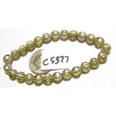 C5377 Czech Glass Melon Bead PALE OLIVE w/ MERCURY  6mm