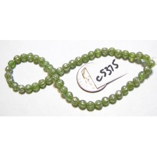 C5375 Czech Glass Melon Bead CELADON w/ MERCURY FINISH   4mm