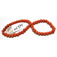 C5374 Czech Glass Melon Bead CORAL w/ BRONZE WASH  4mm